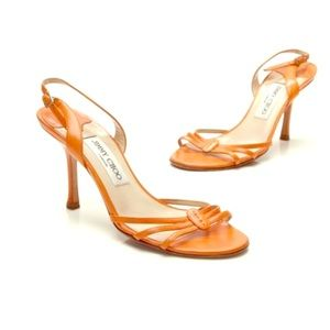 Jimmy Choo Orange Strappy Heeled Sandals